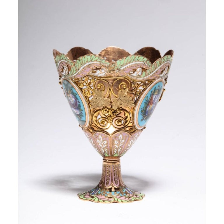 Swiss Gold and Enamel Zarf for the Turkish Market, circa 1840 For Sale 3