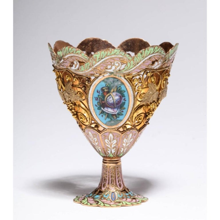 Swiss Gold and Enamel Zarf for the Turkish Market, circa 1840 For Sale 4
