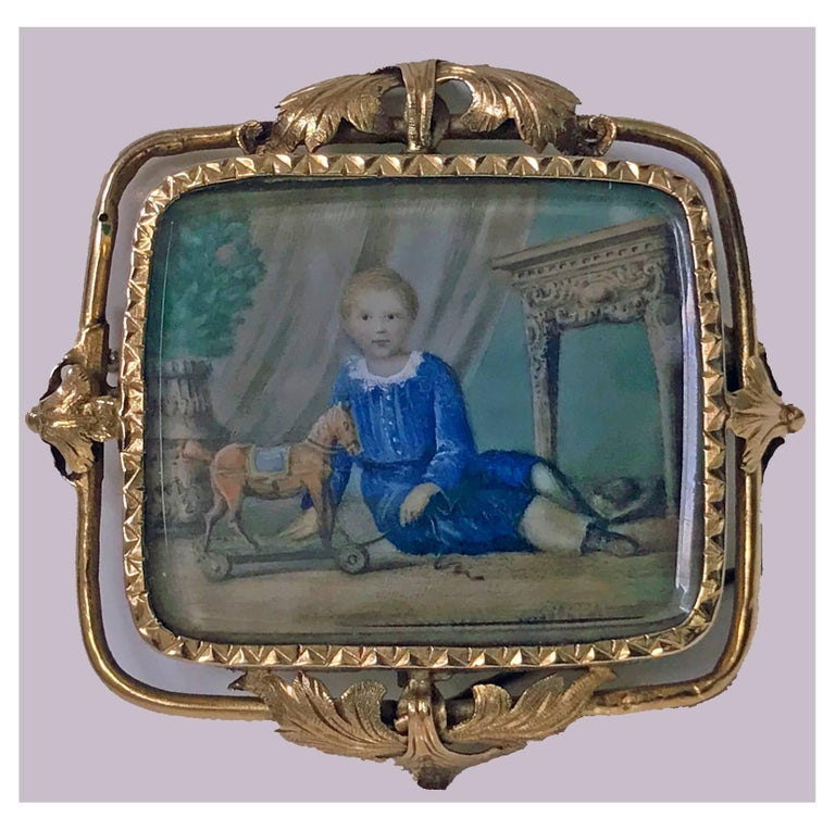 Hand-Painted Swiss Gold Portrait Miniature circa 1800 Attributed to Anton Graff For Sale