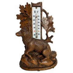 Swiss Hand Carved Black Forest Figure of a Fox with Thermometer, circa 1880
