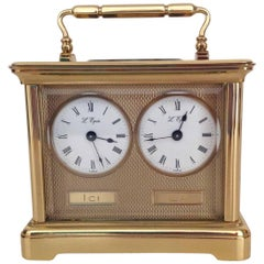 Swiss L'Epee Dual Timezone Miniature Carriage Clock, Late 20th Century