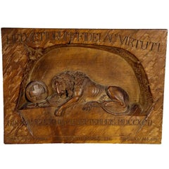Swiss Lion of Lucerne Relief Carving, circa 1900