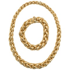 Swiss Made 24 Karat Gold Matching Necklace and Bracelet