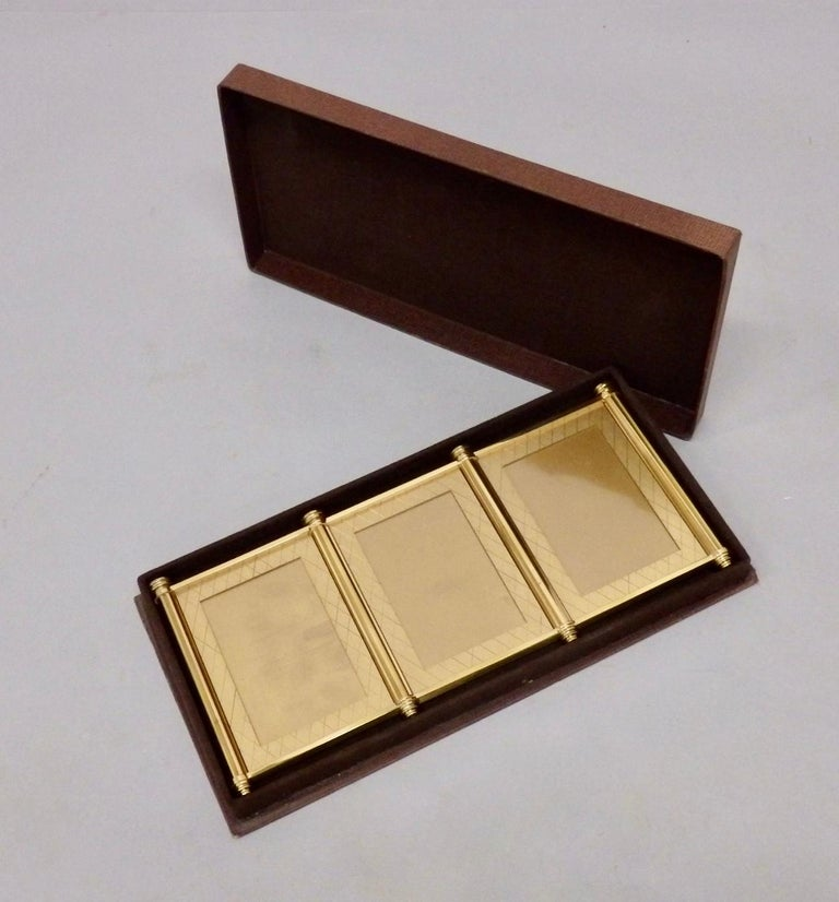 Swiss Made Machined Brass Desk Dresser Top Tri-Fold Picture Frames For Sale 5