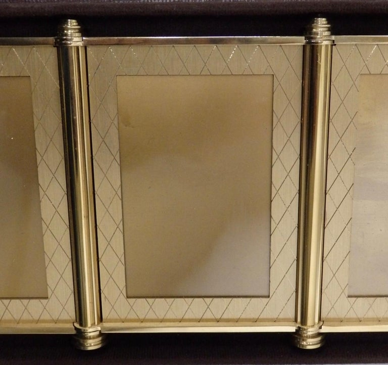 Swiss Made Machined Brass Desk Dresser Top Tri-Fold Picture Frames For Sale 6