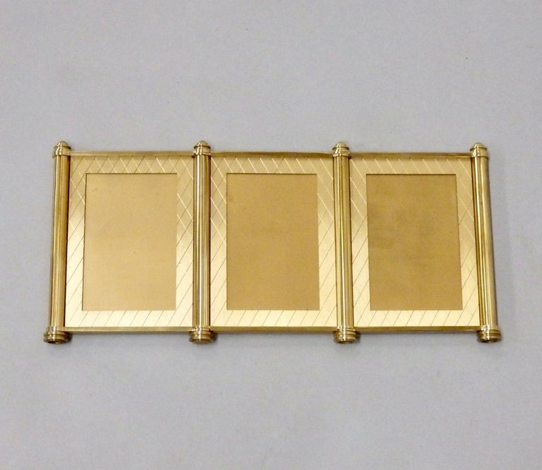 Mid-Century Modern Swiss Made Machined Brass Desk Dresser Top Tri-Fold Picture Frames For Sale