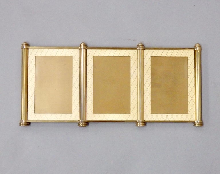 Brushed Swiss Made Machined Brass Desk Dresser Top Tri-Fold Picture Frames For Sale