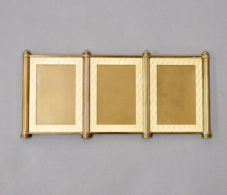 Swiss Made Machined Brass Desk Dresser Top Tri-Fold Picture Frames In Good Condition For Sale In Ferndale, MI