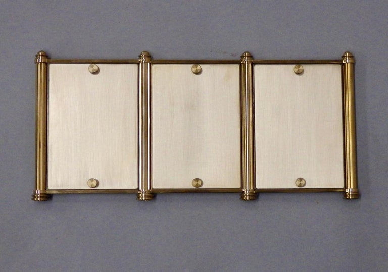 20th Century Swiss Made Machined Brass Desk Dresser Top Tri-Fold Picture Frames For Sale