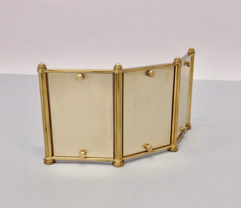 Swiss Made Machined Brass Desk Dresser Top Tri-Fold Picture Frames For Sale 1