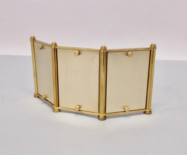 Swiss Made Machined Brass Desk Dresser Top Tri-Fold Picture Frames For Sale 2