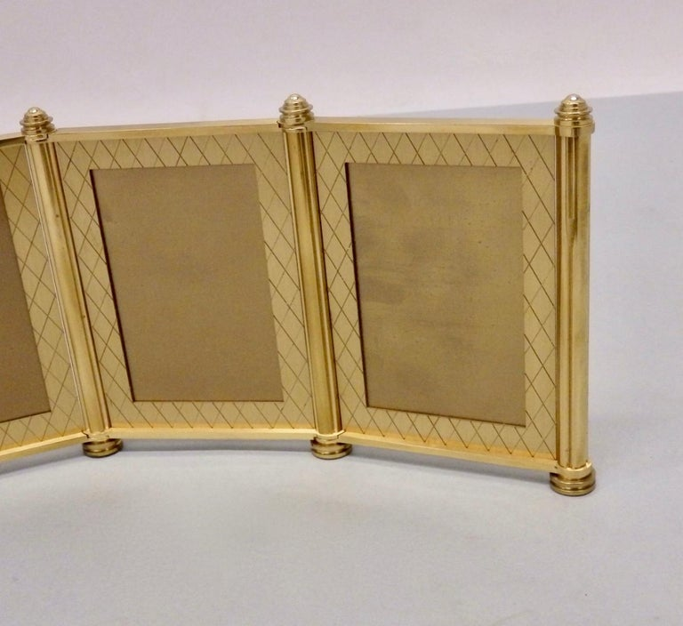 Swiss Made Machined Brass Desk Dresser Top Tri-Fold Picture Frames For Sale 3