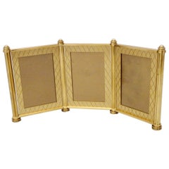 Swiss Made Machined Brass Desk Dresser Top Tri-Fold Picture Frames