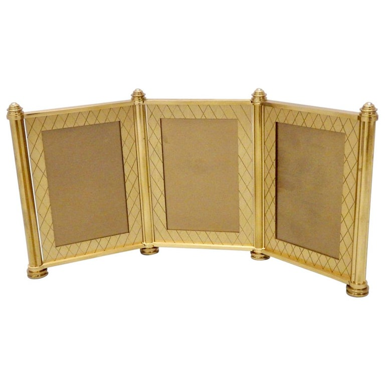 Swiss Made Machined Brass Desk Dresser Top Tri-Fold Picture Frames For Sale