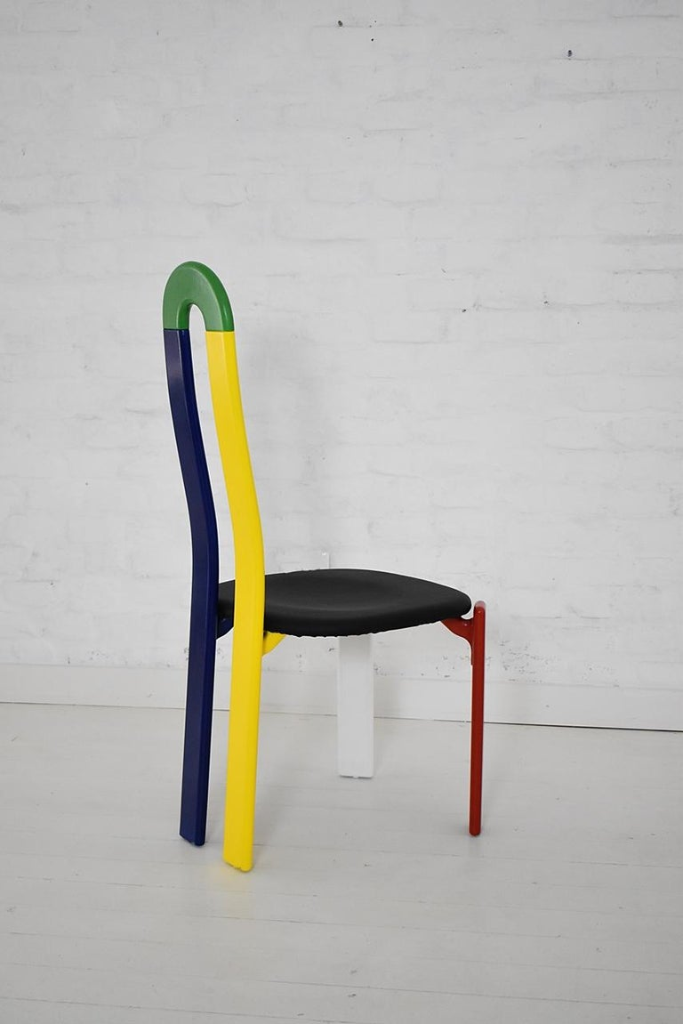 Painted Swiss Made Unique High-Backed Chair by Bruno Rey for Dietiker, 1970s For Sale