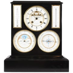 Swiss Mantel Clock, Barometer, Moon Phase and Perpetual Calendar, 19th Century