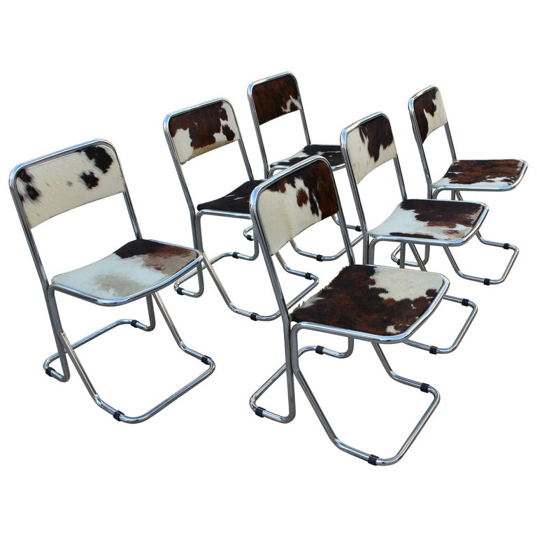 Swiss chrome set of 6 chairs, chairs are chrome base and pony upholstery original, 1970s.