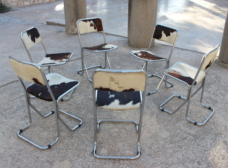 Swiss Mid-Century Modern Set of 6 Chairs In Good Condition For Sale In Los Angeles, CA
