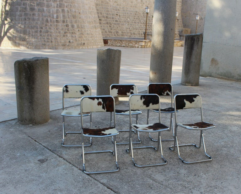 Swiss Mid-Century Modern Set of 6 Chairs For Sale 1