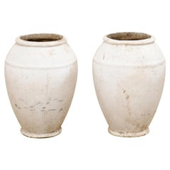 Swiss Mid-Century Pair of Willy Guhl Jars/Planters in White w/ a Fabulous Patina