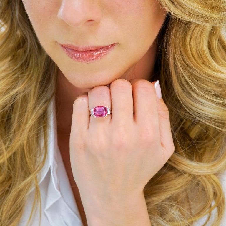 Women's Swiss Modern Pink Tourmaline and Diamond-Set Gold Ring For Sale