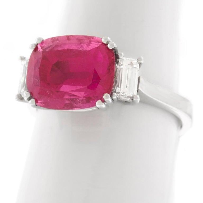 Swiss Modern Pink Tourmaline and Diamond-Set Gold Ring For Sale 5