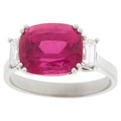 Swiss Modern Pink Tourmaline and Diamond-Set Gold Ring