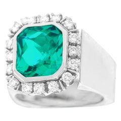 Swiss Modern Tourmaline and Diamond Ring by Paul Binder