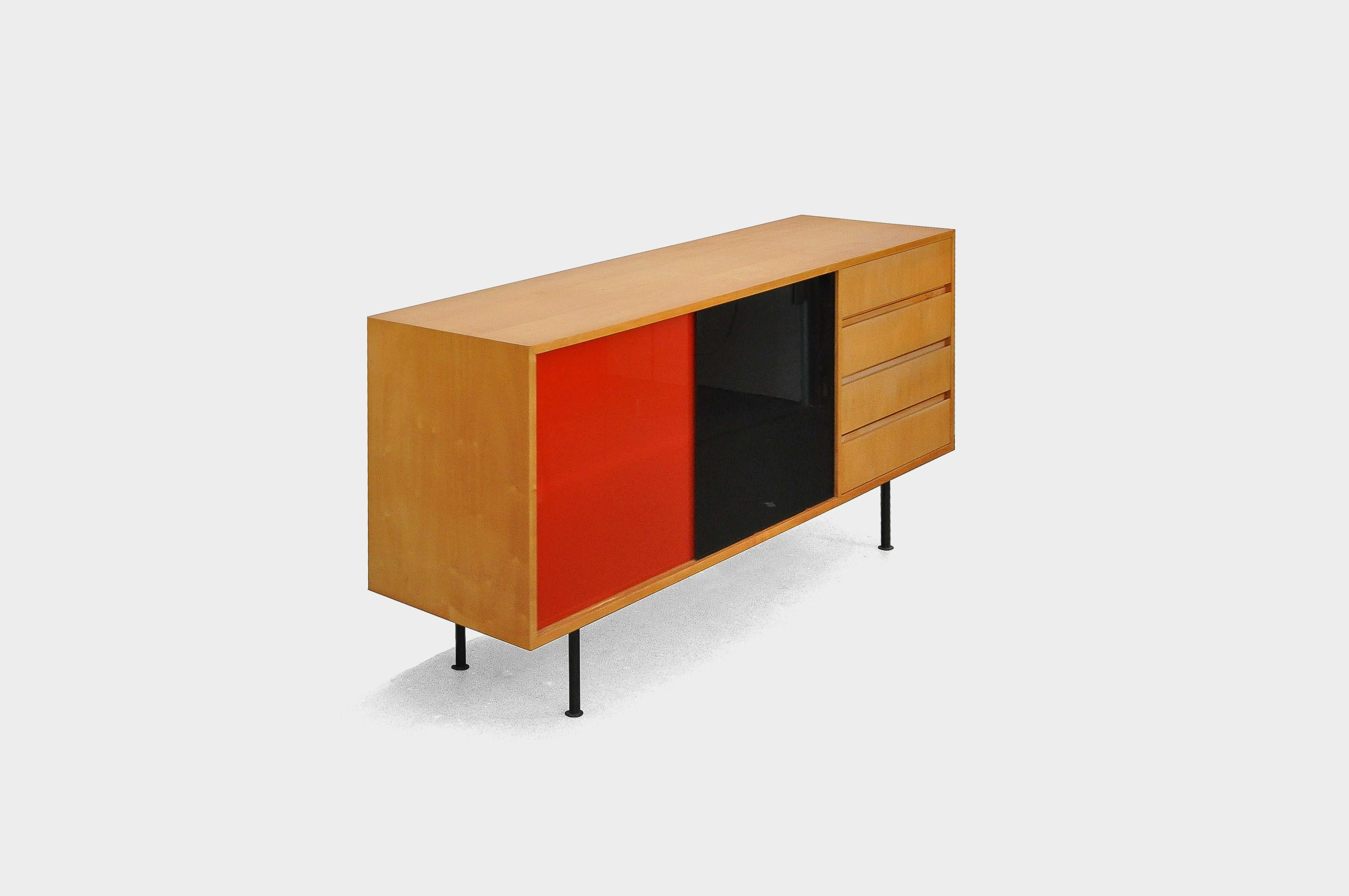 Swiss Modernist Sideboard With Red And Black Glass Sliding Doors 1960s