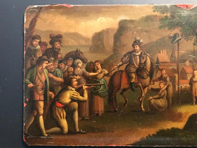 Hand-Painted Swiss Oil Painting of the Legend of William Tell For Sale