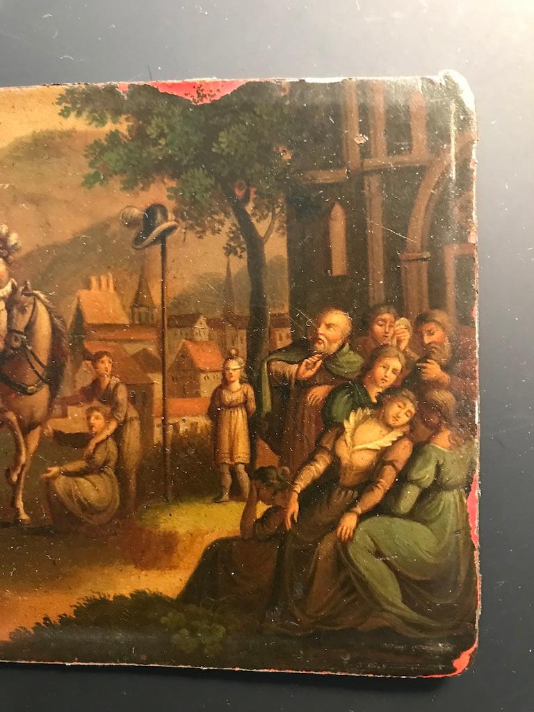 Swiss Oil Painting of the Legend of William Tell In Good Condition For Sale In Stamford, CT