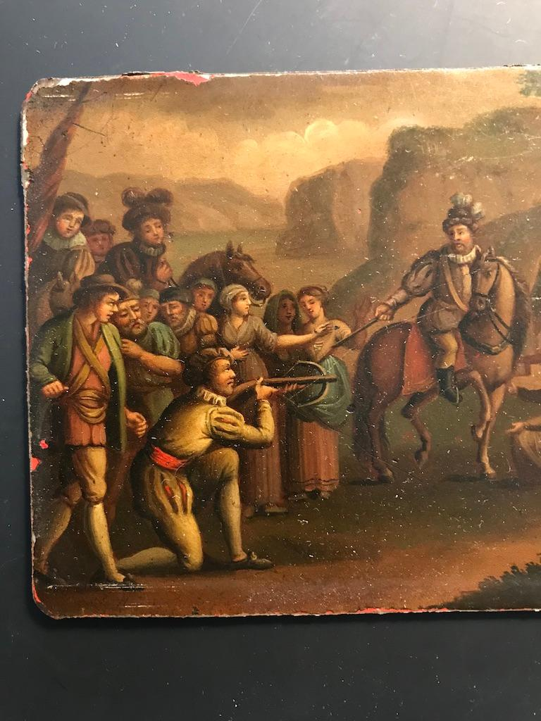 Tin Swiss Oil Painting of the Legend of William Tell For Sale