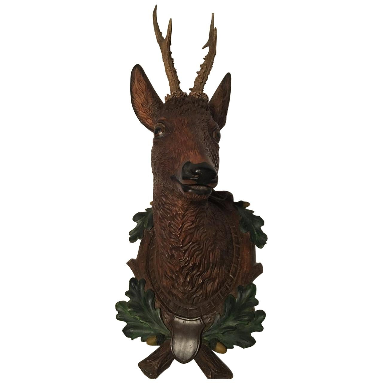 Swiss Realistic Hand Carved Deer Head with Real Antlers, 19th Century