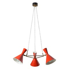 Swiss Red Cone Chandelier by Baumann Kölliker, 1950s