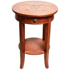 Swiss Rustic Side Table with Geometric Parquetry