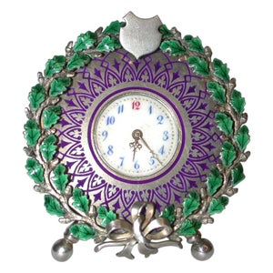 Swiss Silver and Enamel Dressing Table Clock, circa 1900