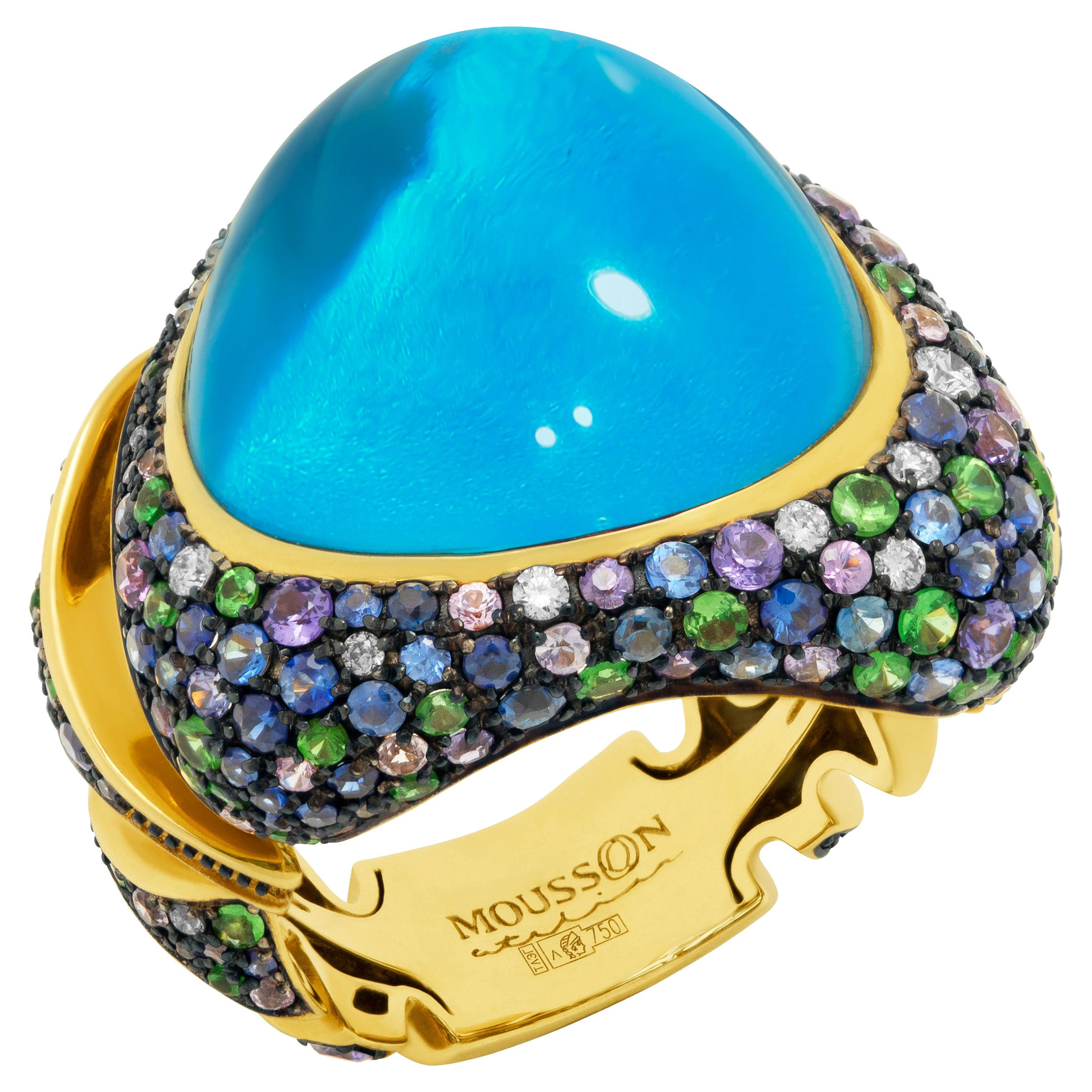 Swiss Topaz 25.86 Carat Diamonds Tsavorites Sapphires 18 Karat Yellow Gold Ring