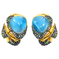Swiss Topaz 9.67 Carat Tsavorite Diamonds Sapphire 18 Karat Yellow Gold Earrings
