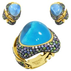 Swiss Topaz Tsavorites Diamonds Sapphires 18 Karat Yellow Gold Suite