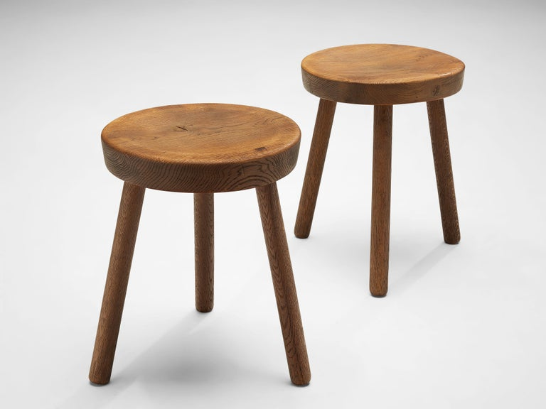 Tripod stools or side tables, solid oak, Switzerland, 1960s-1970s