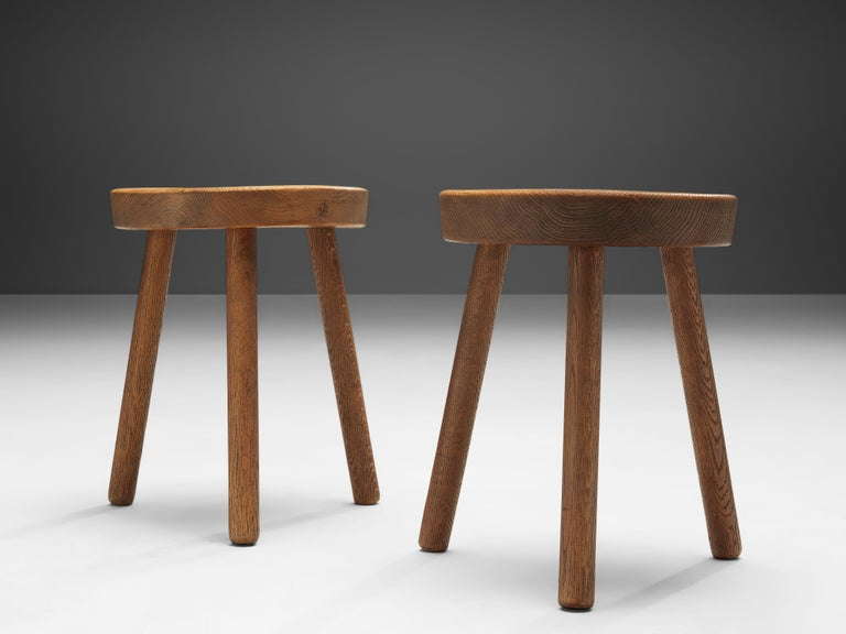 Swiss Tripod Stools in Solid Oak For Sale 1