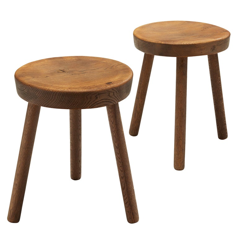 Swiss Tripod Stools in Solid Oak For Sale