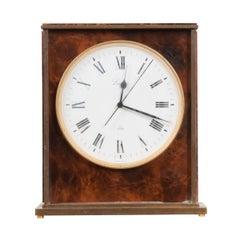 Swiss Vintage Faux Tortoiseshell Desk Clock