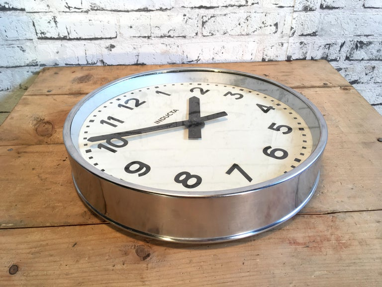Late 20th Century Swiss Vintage Industrial Wall Clock Inducta For Sale