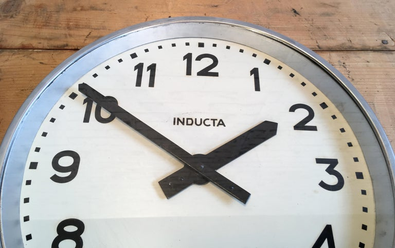 Swiss Vintage Industrial Wall Clock Inducta For Sale 1