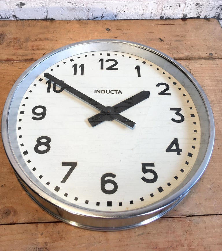 Swiss Vintage Industrial Wall Clock Inducta For Sale 2