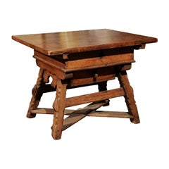 Swiss Walnut Center Table from the Alps, circa 1800