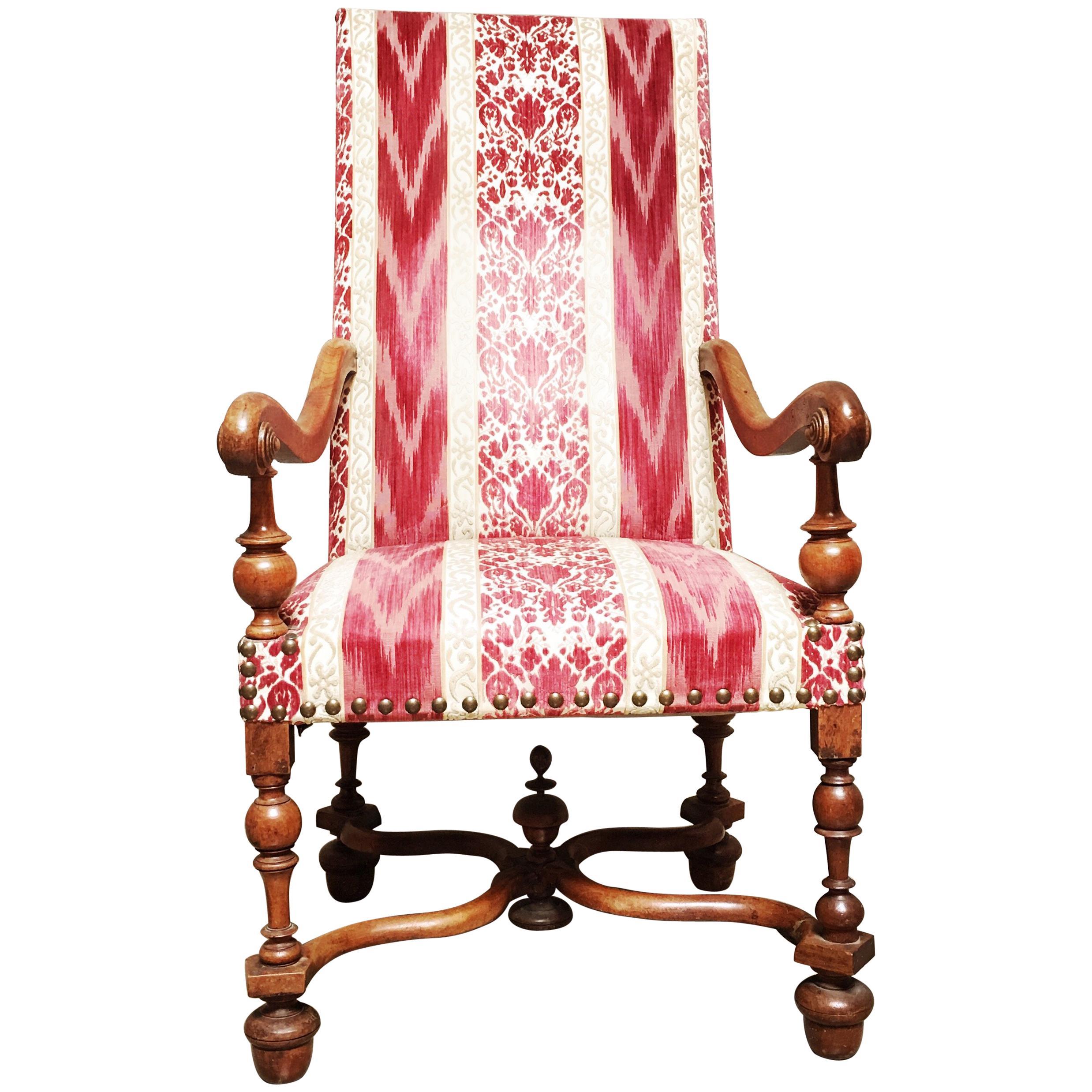 Swiss Walnut Louis XIII Style Fauteuil