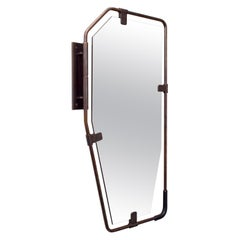 SWITCH Mirror - pivoting brass frame with leather grip