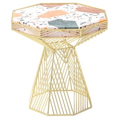 Switch Table in Gold with a Terrazzo Top by Bend Goods